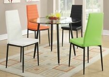 Set of 4 Retro Dining Chairs w/ Faux Leather Black Metal Legs 4 Color Option NEW