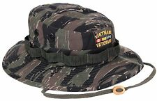 Men's Tiger Stripe Camo Embroidered VIETNAM VETERAN Boonie Bucket Hat S - XL NWT