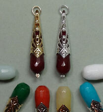 """2"""" Royal Crowned Jade 7 Colors INTERCHANGEABLE Earring Jacket Charms YG or SS"""
