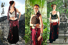 TRIBAL FUSION Bellydance COSTUME red black GOTH YARN FALLS cowry HIP HAIR TASSEL