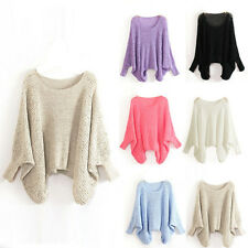 Women Baggy Batwing Sleeve Casual Loose Hollow Knit Pullover Sweater Knitwear
