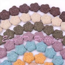 """25mm Flower Lumpy Lava Rock Gemstone For DIY Jewelry Making Spacer Beads 15"""""""