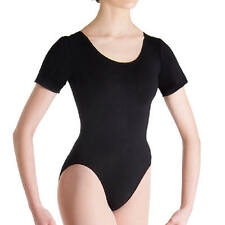 Bloch Womens Dancewear Short Sleeves Dance Leotards Scoop Back Black New