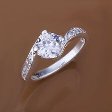 Ladies Women Elegant Jewelry Zircon Ring Couple Gift Silver Plated Band Rings