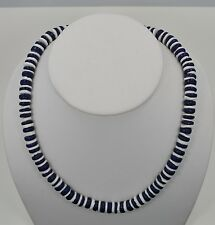 """White Puka Shell Necklace with Blue coco beads 10"""", 16"""", & 18"""""""