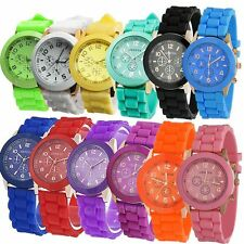 Unisex Couple Silicone Geneva Jelly Sports Wrist Watch for Kid Child Boys Girl's
