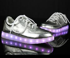 Hot! SILVER FASHION SIMULATION LED LEATHER SHOE 7 Light Colors In 1