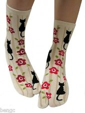 Japanese Black Cat Flower Tabi Socks Split Toe for Kimono Flip Flops Sandals 873