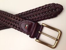 TOMMY HILFIGER Men's Braided Leather Belt w/ Silver Buckle ~ Various Sizes New