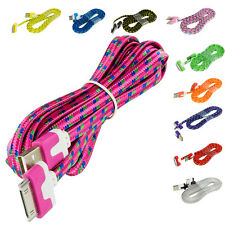 Noodle Rope Braided USB Sync Data Cable Cord 10FT for iPhone 4 4S 3GS iPod Touch