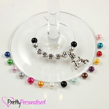 Personalised Christmas Wine Glass Charms - Table Decoration Stocking Filler