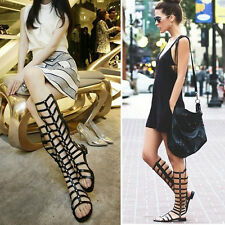 Womens Knee High Gladiator Flat Sandals Boots Punk Buckle Strappy Summer Shoes