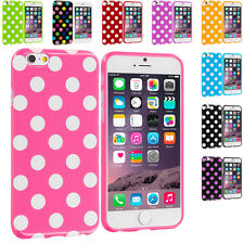 For Apple iPhone 6 (4.7) TPU Polka Dot Design Rubber Skin Case Cover Accessory