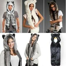 Cool Hat Faux Fur Warm Hoodie Hat Beanie Scarf Long Paw Gloves with Pockets RTUS