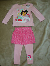 DORA THE EXPLORER  2 piece set ADORABLE TOP / MATCHING LEGGINGS ATTACHED SKIRT