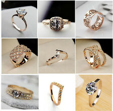 Hot 18K Rose Gold Plated Crystal Cocktail Wedding Jewelry Ring+Free Gifts Bag #1