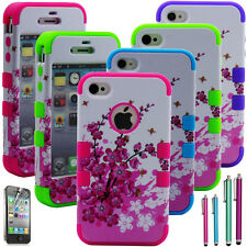 Cherry Blossom Defender Rubber Heavy Duty Hybrid Hard Case Cover For iPhone 4 4S