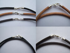 3mm Round Genuine Leather Cord Necklace/Bracelet Sterling Silver Lobster Clasp
