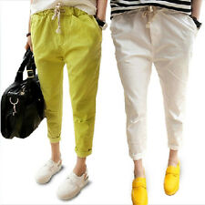 Women's Candy Color Casual Drawstring Elastic Waist Loose Harem Pants Trousers
