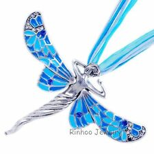 50% OFF Fashion Sweet Dragonfly Angel Silver Crystal Pendant Necklace Jewelry