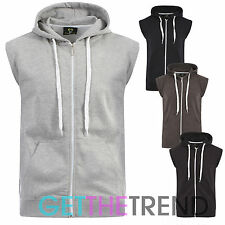 Mens Plain Gilet Waistcoat Fleece Lined Hoodie Sleeveless Sweatshirt Zipped Top