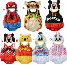 Baby Boys Girls Disney Sleeveless Bodysuit Outfit Romper Clothes Hat Set 3-24 M