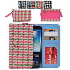 Kroo Woman-s Houndstooth Patterned Wallet Clutch Cover X6|B fits Mobile Phone
