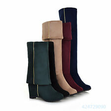 Womens Ladies Comfort High Heels Stretch Shoes Over the Knee Boots US Size Y1107