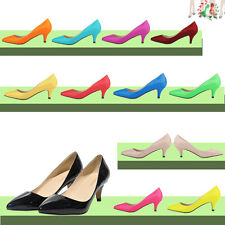 Womens Shoes Sexy Low Mid Kitten Heels PU Patent Leather Pointed Pumps US4-11