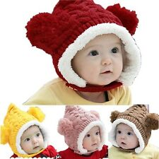 Baby Girls Warm Cute Double Balls Kids Boys Knit Thick Wool Hats Caps Toddlers