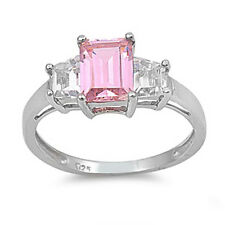 Sterling Silver Pink Ice Ring With Clear Accent CZ Stones High Quality 925 Italy