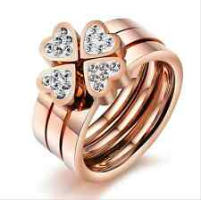 Fashion Jewelry Titanium Steel 4 Hearts 3 Rings White CZ womens fingers rings