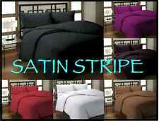 Luxury Satin Stripe Duvet Quilt Cover Bedding Set, Or Fitted Sheets, Pillowcases
