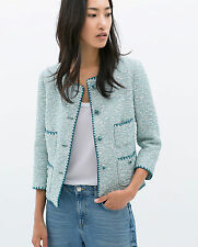 ZARA CONTRAST EMBROIDERED JACQUARD JACKET ALL SIZES *SOLD OUT IN STORES & ONLINE
