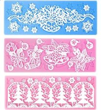 Christmas Flower Lace Silicone Mold Mould Fondant Cake Decoration Baking Tool UK
