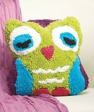 Colorful Blue Brown Owl Hoot Shaped Cotton Throw Pillow Kids Accent Room Decor