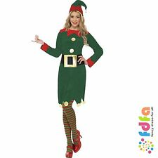 GREEN & RED ELF LADY & HAT + BELT - all sizes 8-18 - womens xmas fancy dress