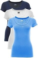 Neu Vero Moda Damen T-Shirt V-Neck Women Basic Shirt Top Dunkelblau Blau Weiß %