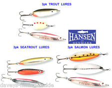 3pk HANSEN SPOONS SEA COARSE GAME SPINNING ROD LURES TROUT SALMON BASS PIKE