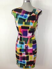 Calvin Klein NewWithTag Elegant Easy Breezy Multicolor Print Summer Dress Belted