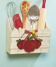 Country Red Apple Kitchen Wall Bin Wood Picket Fence Utensil Holder Decor