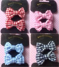 ♥ GINGHAM CHECK SET 2 BOW HAIR PONIO PONYTAIL ELASTIC BOBBLES GIRL SCHOOL CUTE