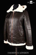 Ladies AVIATOR HOODED SHEEPSKIN Brown Beige Shearling USAF Bomber Leather Jacket