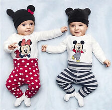 Kids Baby Boy Girl Infant Toddler Romper Clothes 3-Piece Set Newborn Bodysuits