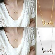 Fashion Sweet Silvery/Golden Necklace Pearl Crystal LOVE Letters Necklace Q45