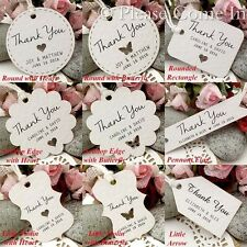 Personalized White Wedding Favor Tags/ Thank You Tags/ Gift Tags with Twine
