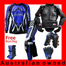 MOTOCROSS MX Classic Adult Gear (Armour,Pants,Jersey,Gloves,Knee) Blue + Bootbag
