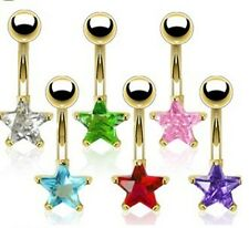 Gold Plated Crystal STAR Belly Bar - Choose Colour