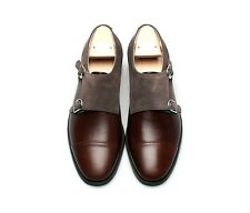 Mens leather suede mix monk slip on LOAFER  HAND MADE SHOES  ORDER BROWN  hm56