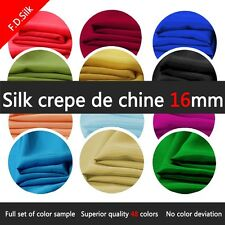 "100% Pure Silk Crepe De Chine Fabric 16MM Width45"" 1Yard 48Colors Wedding"